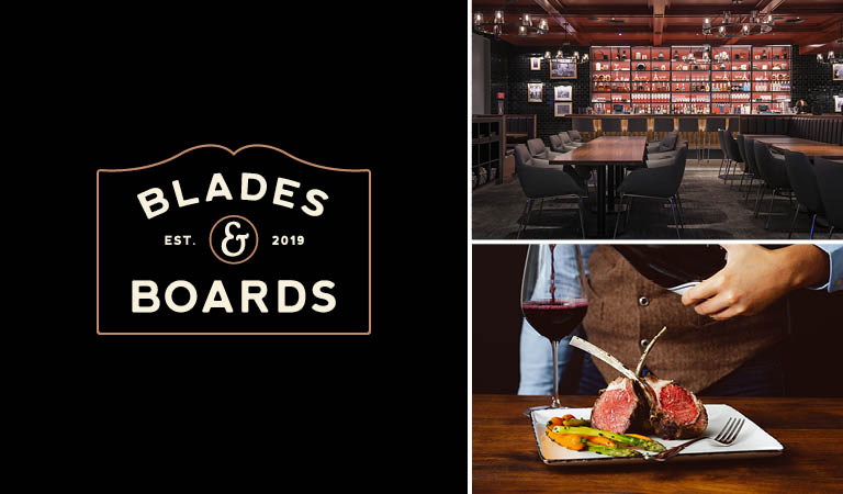 Blades & Boards interior, Blades & Boards logo and steak with wine