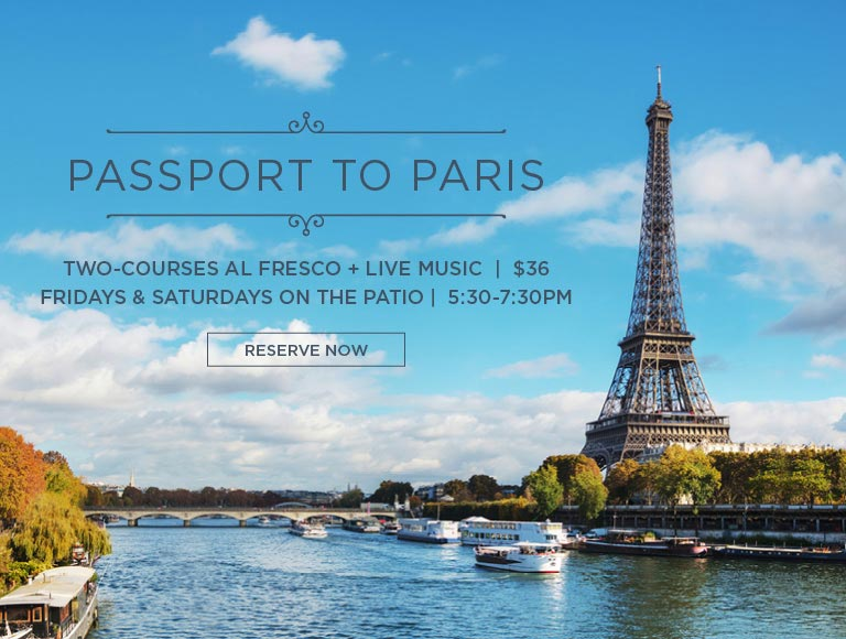 Learn more and & reserve now for Passport to Paris | Fridays & Saturdays on the patio of Cafe Pinot | Downtown Los Angeles dining
