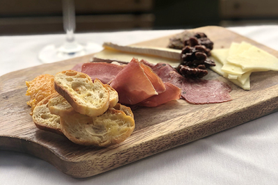 Charcuterie Board with Wine Glass