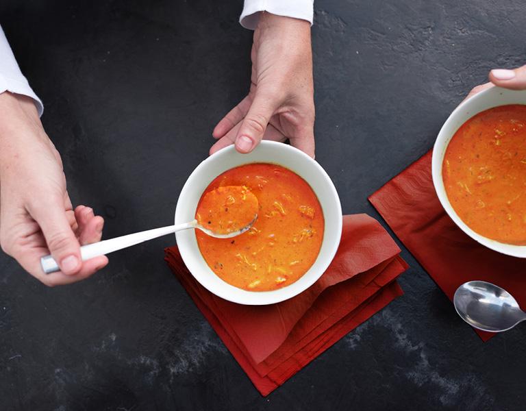 Cream of tomato chicken orzo soup