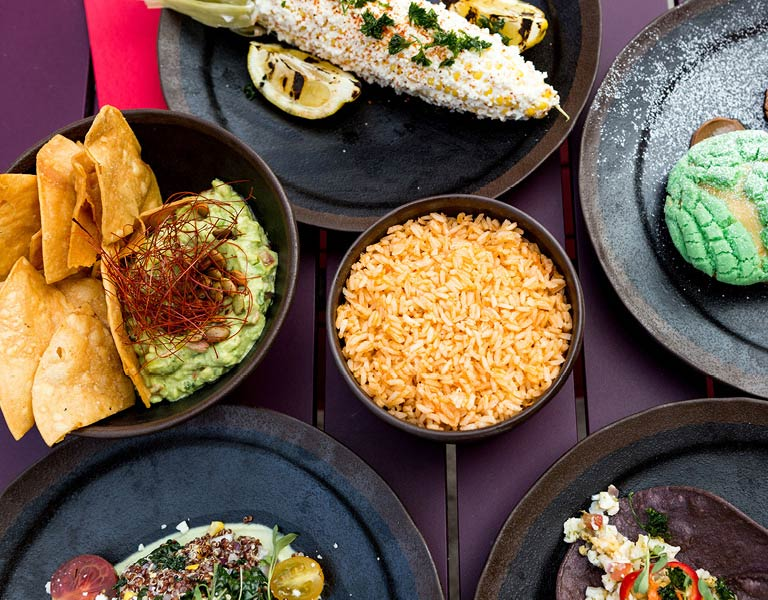 Table of food, authentic Mexican cuisine