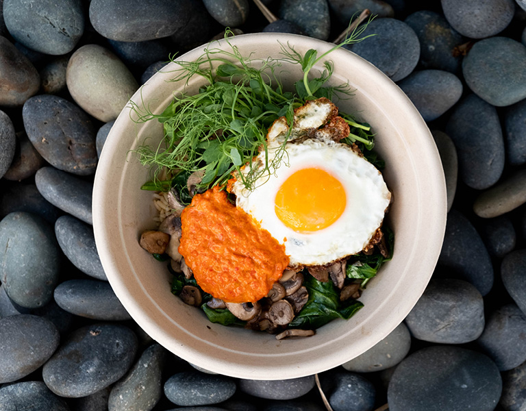 Mushroom, Egg, and Greens Bowl and Other Healthy Breakfast Options in Santa Monica, CA
