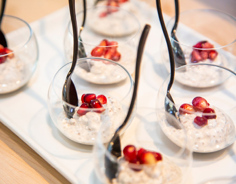 Chia pudding served at an event catered by Colorado Kitchen in Southern California