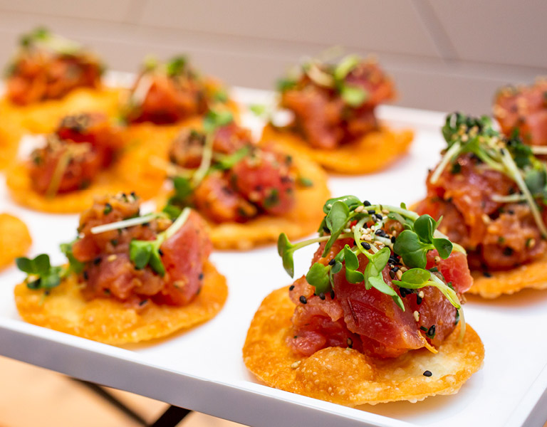 Mini tostadas served at an event catered by Colorado Kitchen in Southern California