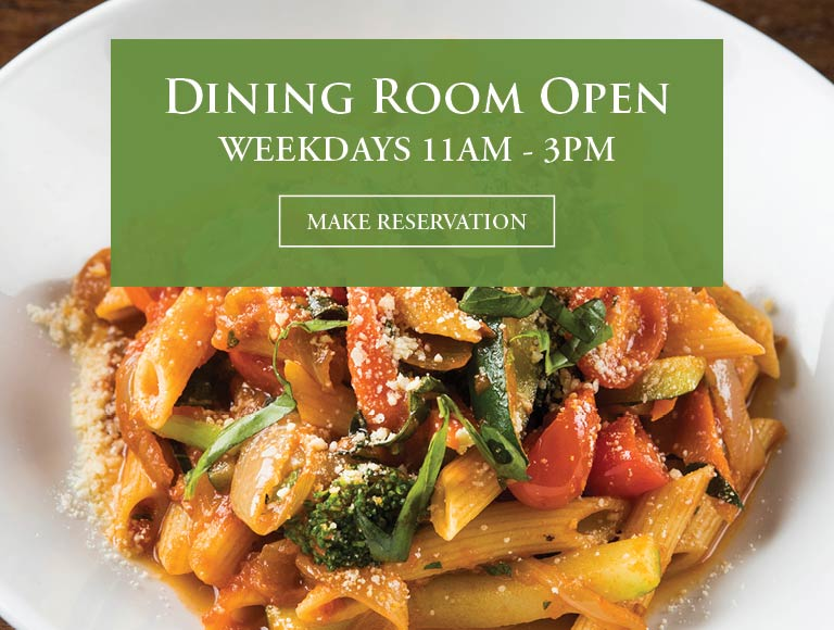 Pasta entree | Dining Room Open Weekdays 11AM-3PM | Make Reservations Now