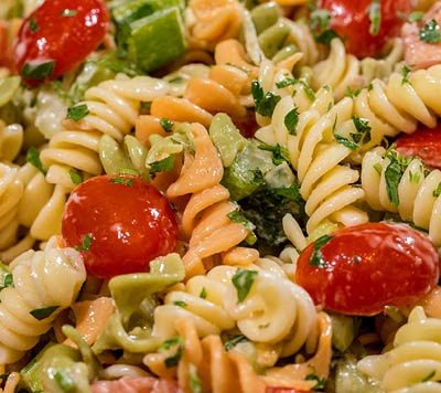 Fresh pasta salad, food to go, Rockefeller Center, NYC