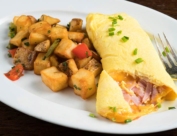 Ham & Cheese Omelette with Home Fries   Breakfast in Midtown East NYC
