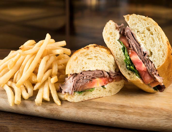 Roast Beef Sandwich with Fries | Casual Dining at Rockefeller Center NYC