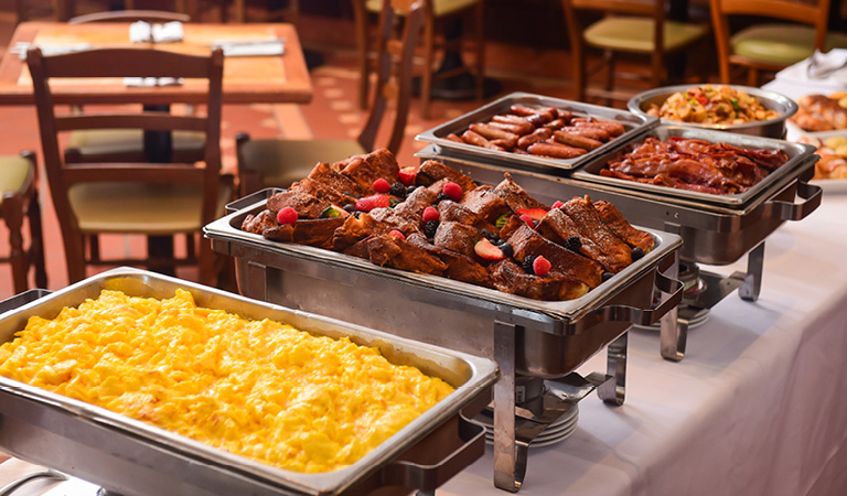Private event breakfast buffet spread at Cucina & Co. Rockefeller Center in midtown NYC