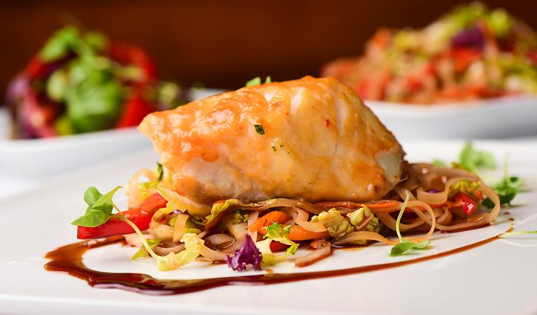 Fish entrée served at Cucina & Co. Rockefeller Center in midtown NYC