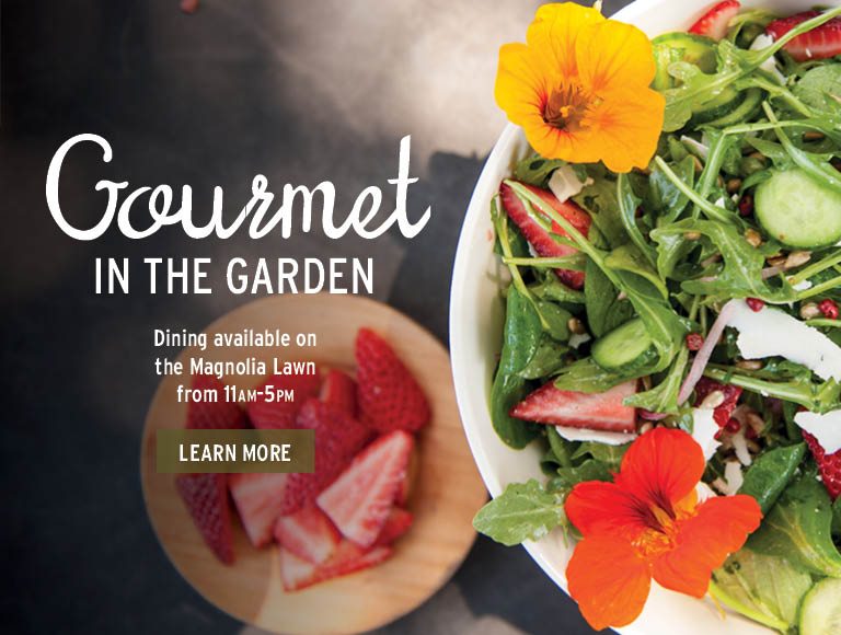 Gourmet In The Garden | Dining available on the Magnolia Lawn from 11am-5pm | Click to learn more