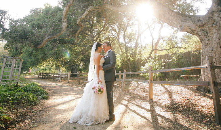 Bride and groom at their wedding at Descanso Gardens in Southern California