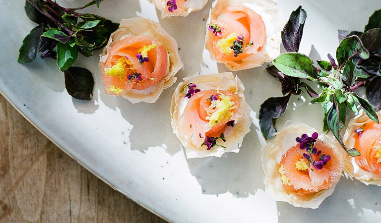 The Kitchen Mini Smoked Salmon Tartelettes served at The Kitchen at Descanso in Southern California