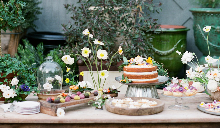 The Kitchen Dessert Table with Cake at The Kitchen at Descanso at Descanso Gardens