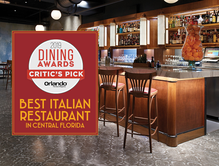 2019 Dining Awards Best Italian Restaurant in Central Florida Critic's Pick | Orlando The City's Magazine | Enzo's Hideaway