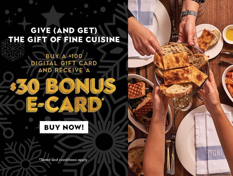 Buy a $100 gift card get $30 bonus e-gift card