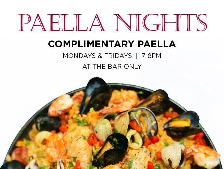 Complimentary Paella Mondays & Fridays 7-8pm, at the bar only