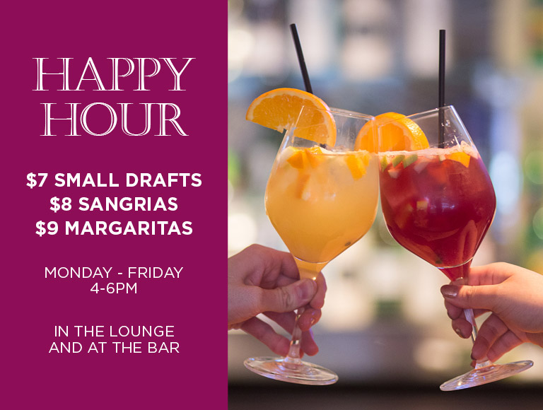 Happy Hour Specials at La Fonda del Sol in NYC | $7 small drafts, $8 sangrias, $9 margaritas | Monday-Friday, 4-6PM in the lounge and at the bar