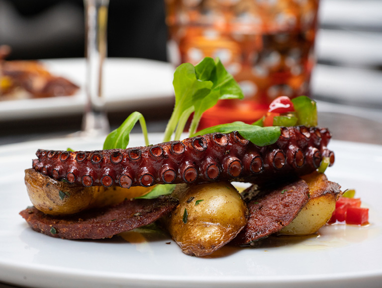 Octopus served at La Fonda del Sol in the MetLife Building in Midtown New York City