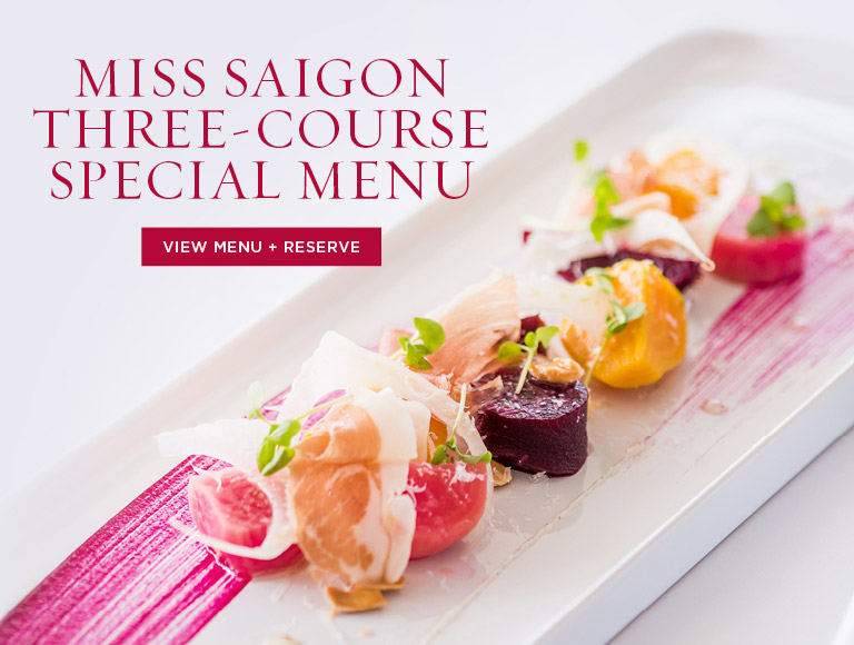 View Menu & Reserve | Miss Saigon Three-Course Special Menu at Leatherby's in Orange County, CA