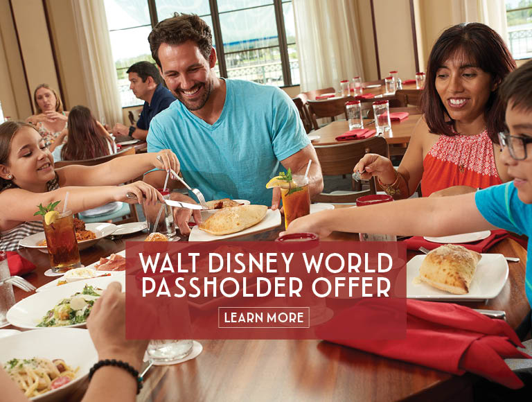 Learn more about Maria & Enzo's Walt Disney World Passholder Lunch Offer, Disney Springs Italian Dining