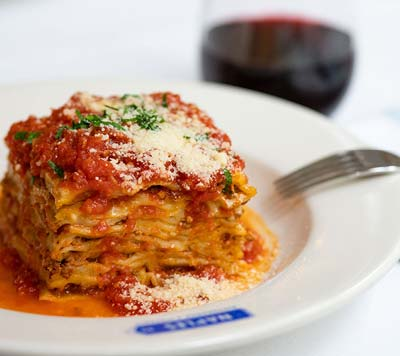 Fresh lasagna, Italian restaurant, The MetLife Building, NYC