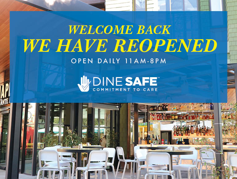 Welcome Back | We Have Reopened | Open Daily 11am-8pm | Dine Safe Commitment To Care