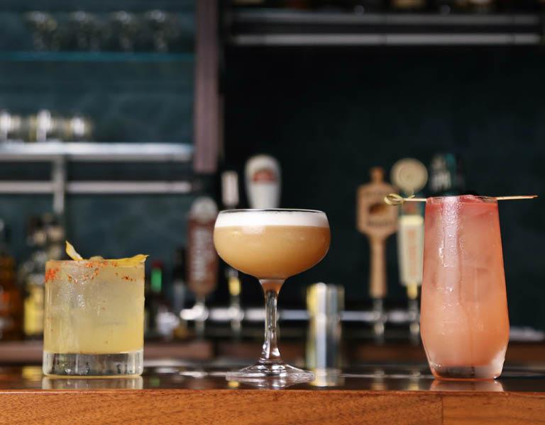 Cocktails on a bar