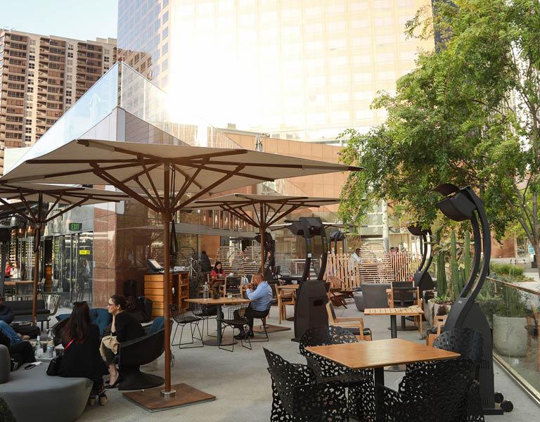 Exterior patio at Nick + Stef's LA