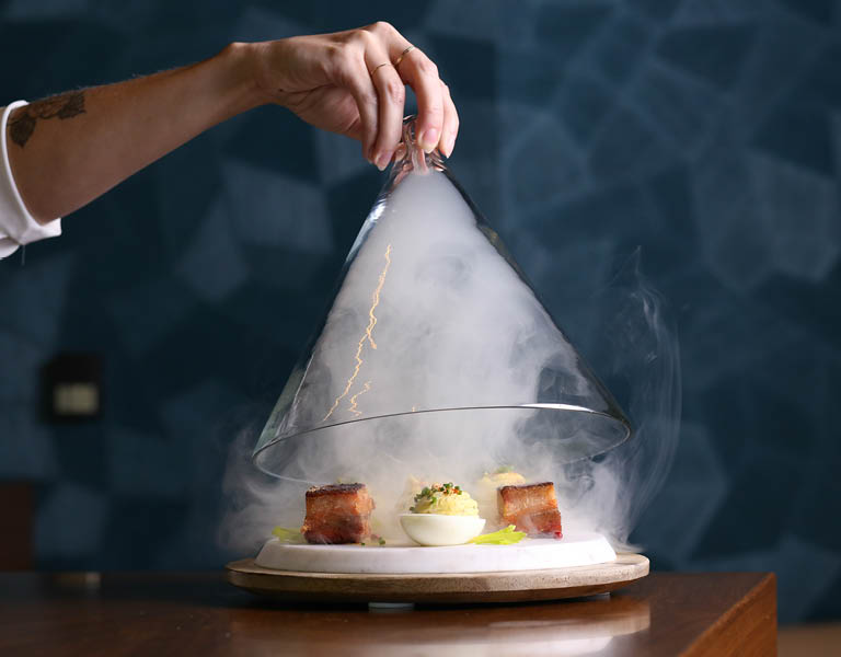 Smoke coming from plate