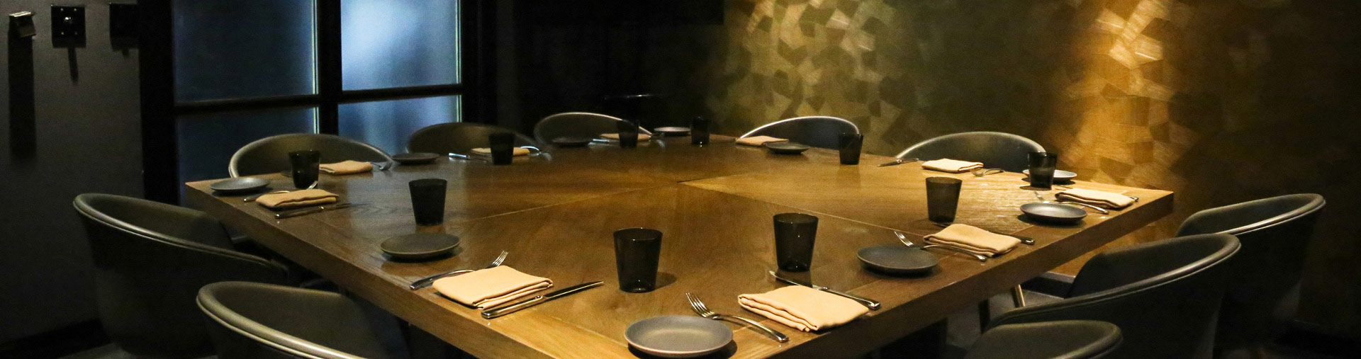 Private dining space set up at Nick + Stef's Steakhouse in Los Angeles