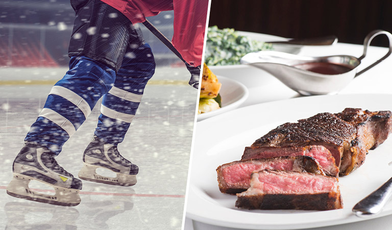 Hockey player skates | Steak served at Nick + Stef's Steakhouse in NYC