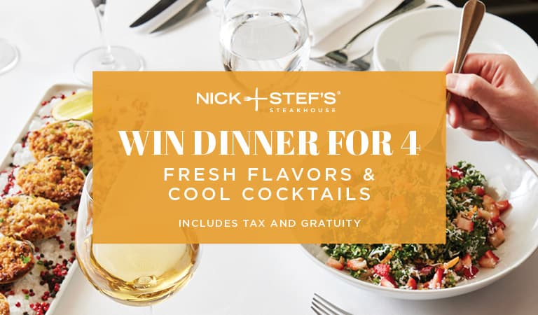 Win dinner for 4 during sweepstakes!