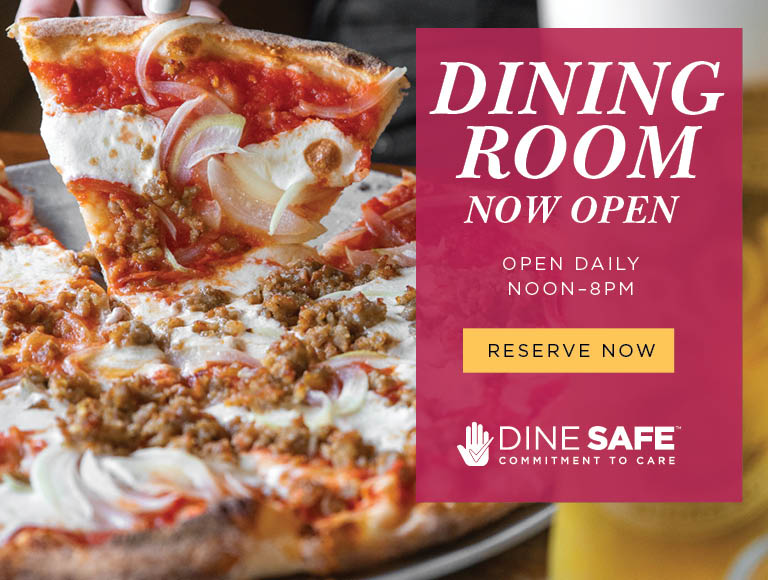 Dining Room Now Open | Open Daily Noon-8pm | Dine Safe Commitment To Care