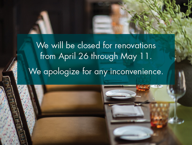 We will be closed for renovations from April 26th through May 11th. We apologize for any inconvenience.