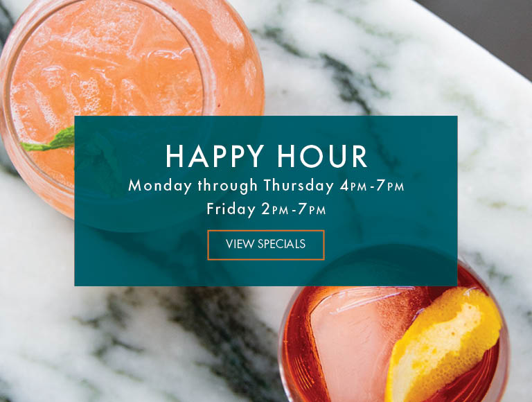 View Specials | Happy Hour at Patina 250 in downtown Buffalo | Monday-Thursday, 4PM-7PM | Friday, 2PM-7PM
