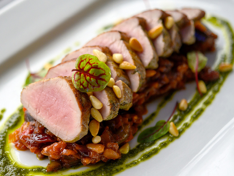 Pork tenderloin served at Patina 250 in downtown Buffalo, NY