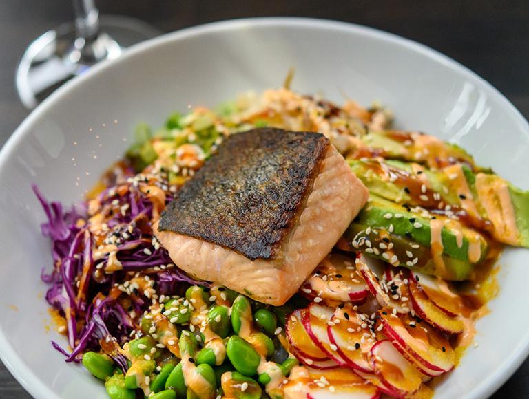 Salmon bowl served at Patina 250 in downtown Buffalo, NY