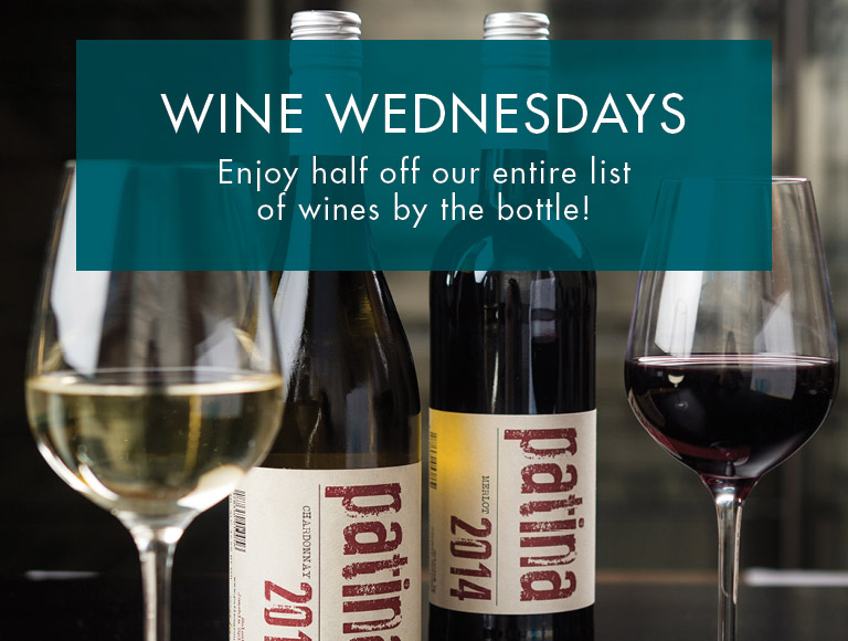Wine Wednesdays at downtown Buffalo's Patina 250 | Enjoy half off our entire list of wines by the bottle