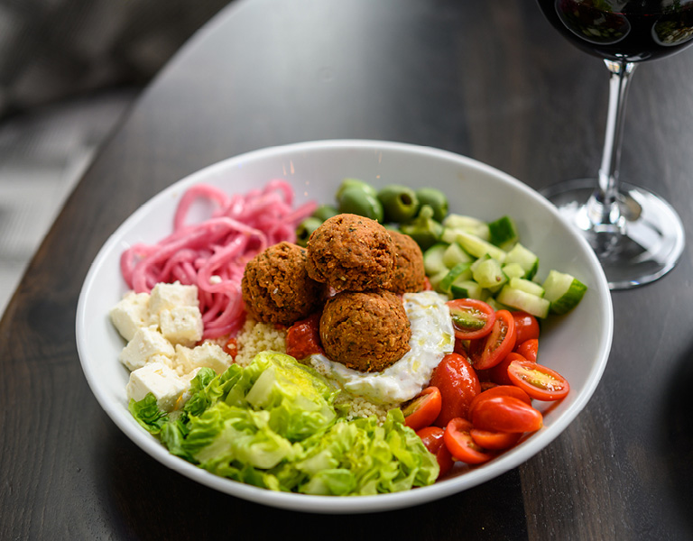 Mediterranean Falafel Bowl served at Patina 250 in downtown Buffalo, NY
