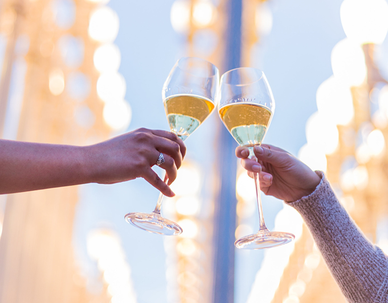 Champagne toast outside Urban Lights