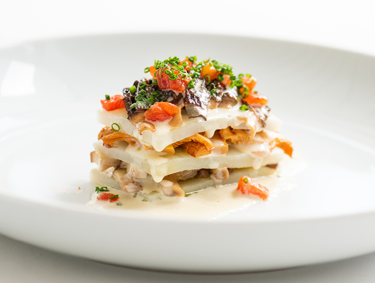 Wild mushroom potato lasagna prepared at Patina Restaurant in downtown Los Angeles