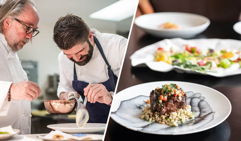 Two Patina Restaurant chefs prepare food and braised oxtail