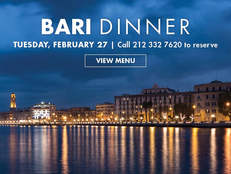 Reserve Now for the Bari Dinner
