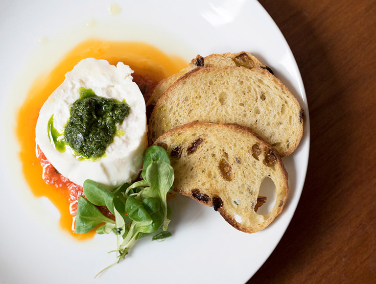 Burrata served at Rock Center Cafe in New York City