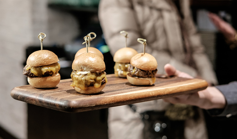 Sliders served at Rowland's Bar & Grill in Macy's Herald Square