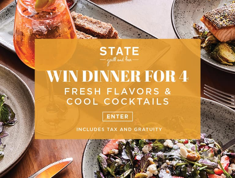 Win a dinner for four at STATE Grill & Bar