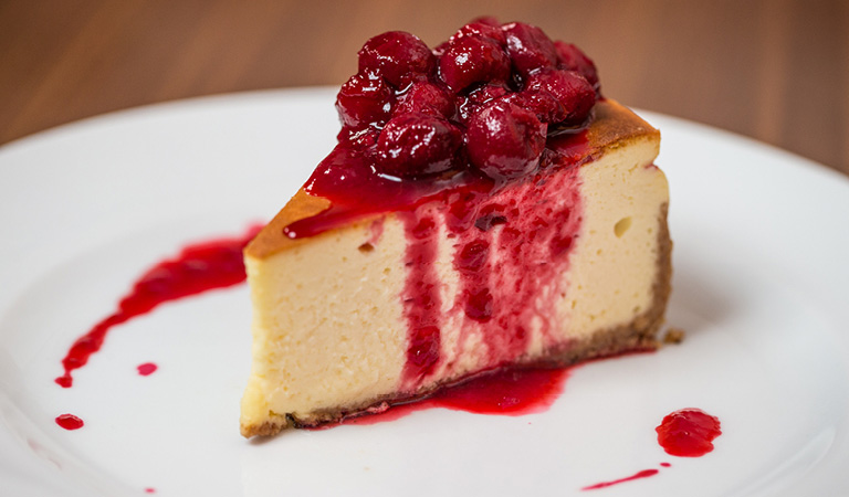 Cheesecake served at STATE grill and bar inside the Empire State Building