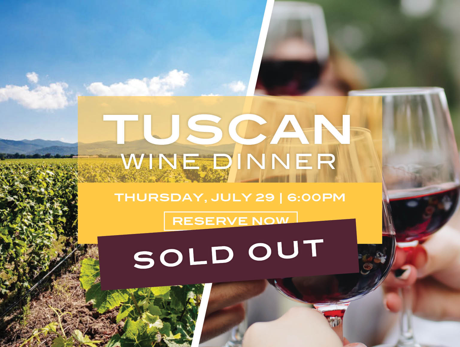 Tuscan Wine Dinner Thursday, July 29 2021 | Buy Tickets Now