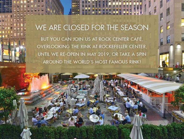 We are closed for the season but join us at Rock Center Cafe or The Rink until we re-open in May 2019